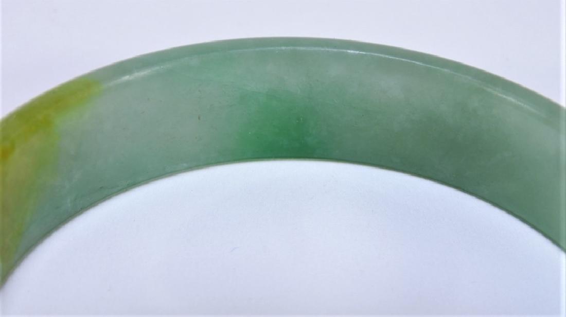 19C. Chinese Celadon Russet Jade Bangle Bracelet - 4