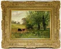 Joseph Milne Impressionist Cow Landscape Painting