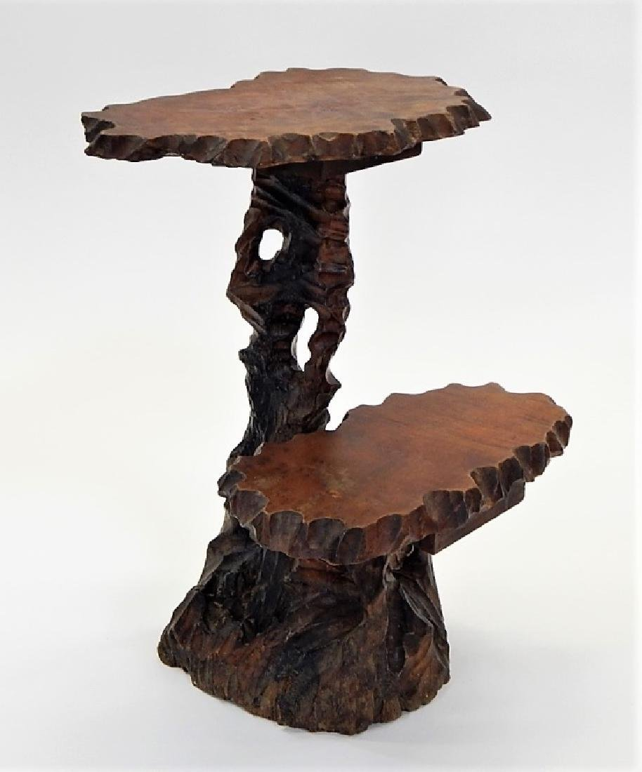19C. Chinese Root Carved Side Table