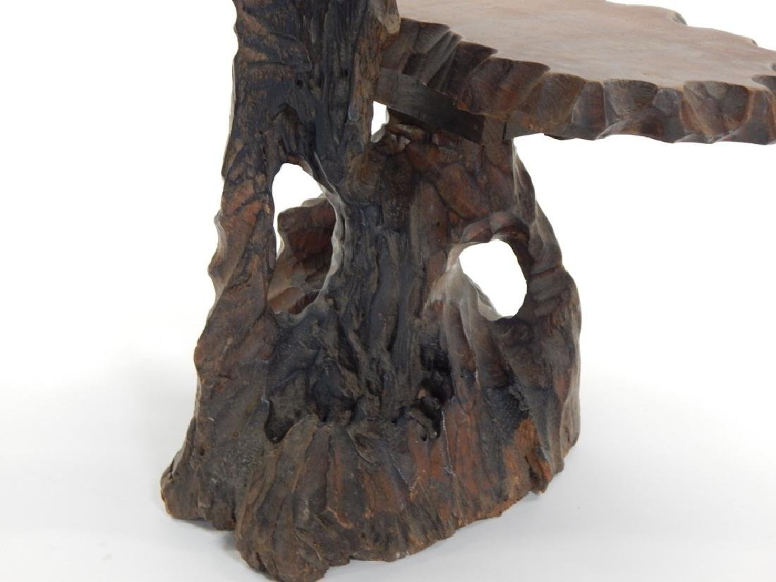 19C. Chinese Root Carved Side Table - 5