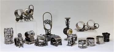 17PC Victorian Figural Silverplate Napkin Rings