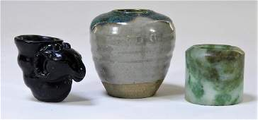 3PC Chinese Qing Dynasty Jade Pottery Onyx Group