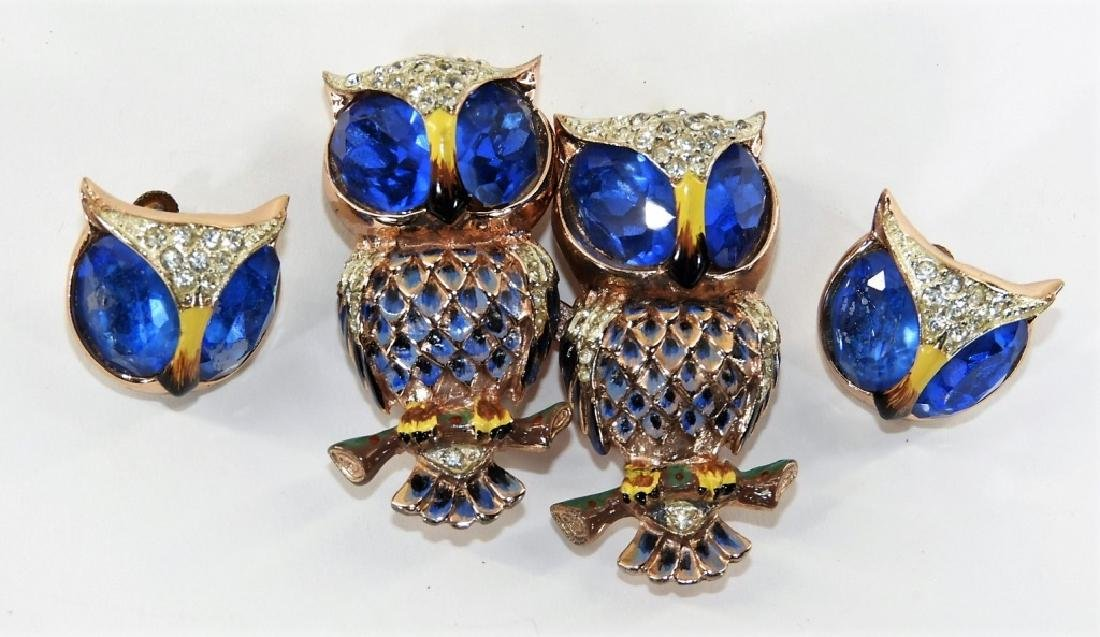 Coro Craft Enameled Sterling Silver Owl Duet Set