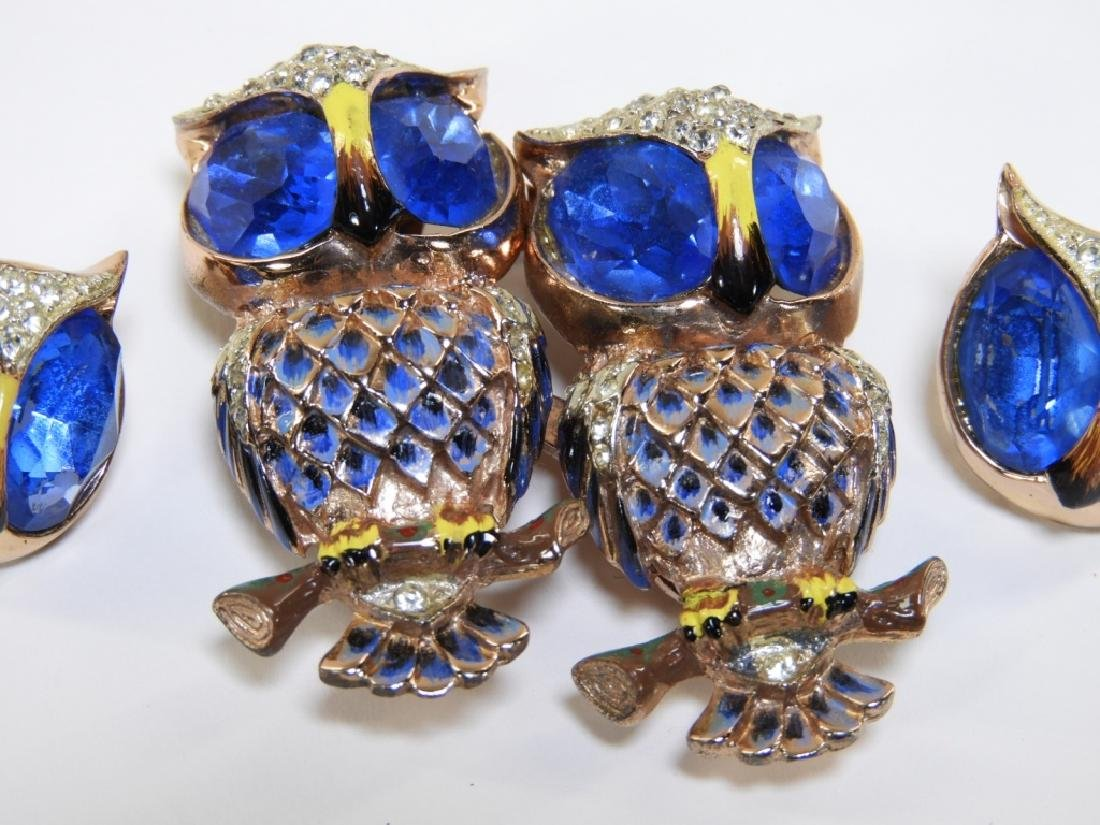 Coro Craft Enameled Sterling Silver Owl Duet Set - 2