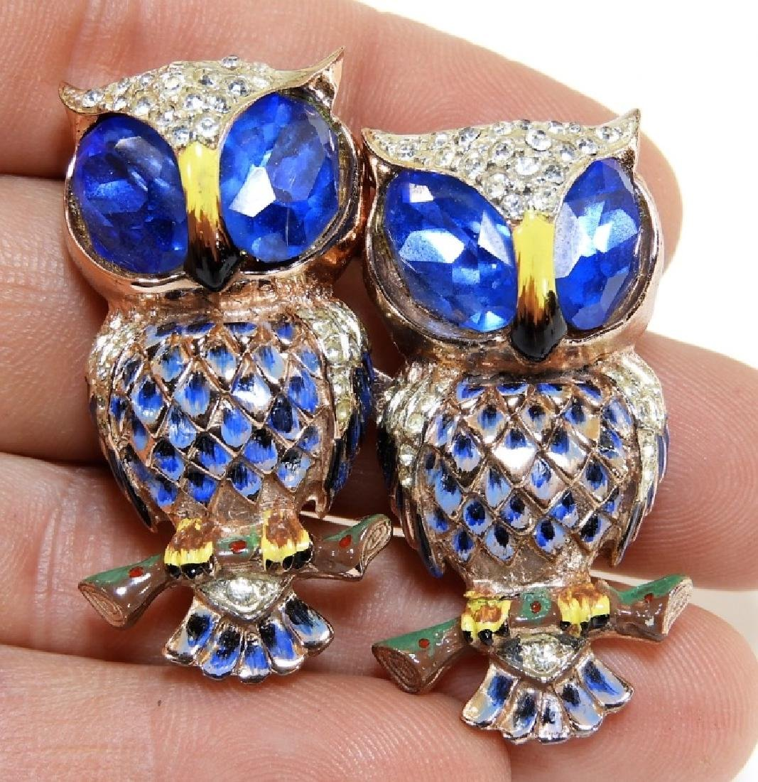 Coro Craft Enameled Sterling Silver Owl Duet Set - 3