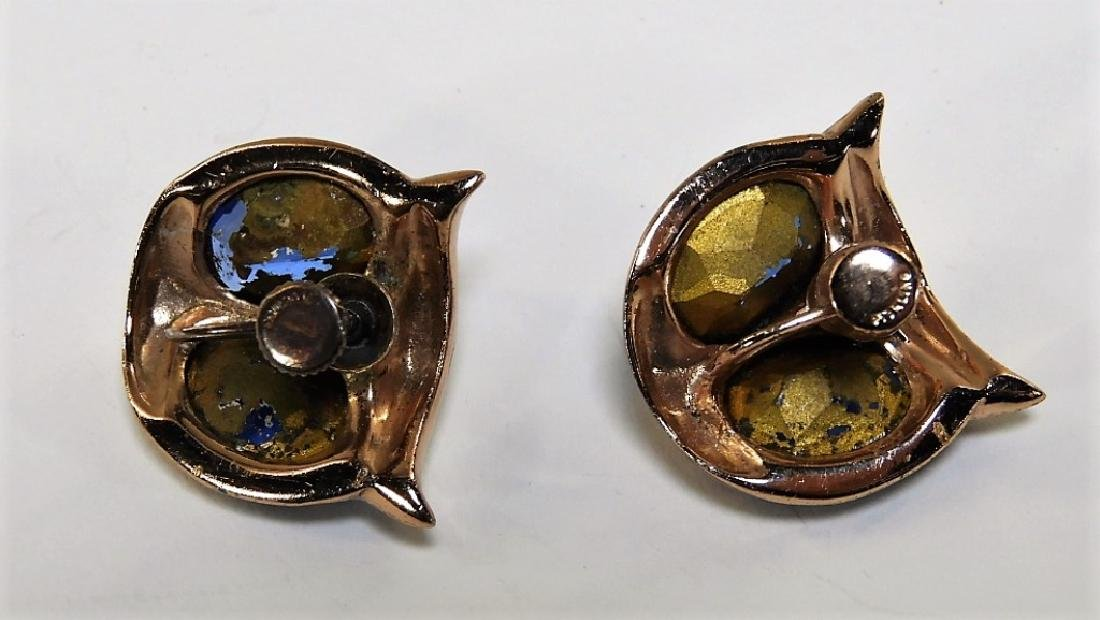 Coro Craft Enameled Sterling Silver Owl Duet Set - 6