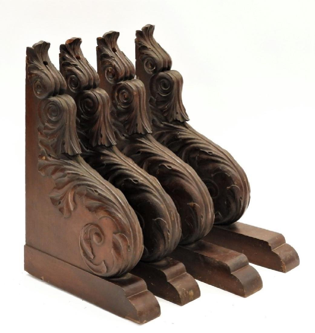 2 PR Carved Mahogany Architectural Shelf Corbels - 2