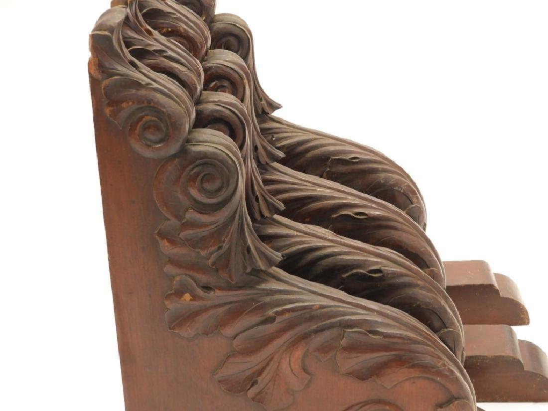 2 PR Carved Mahogany Architectural Shelf Corbels - 3