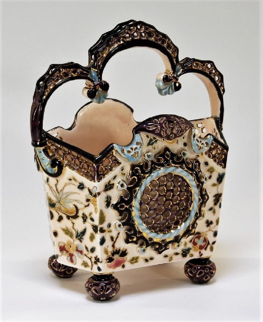 19C. Hungarian Fischer J. Budapest Ceramic Basket