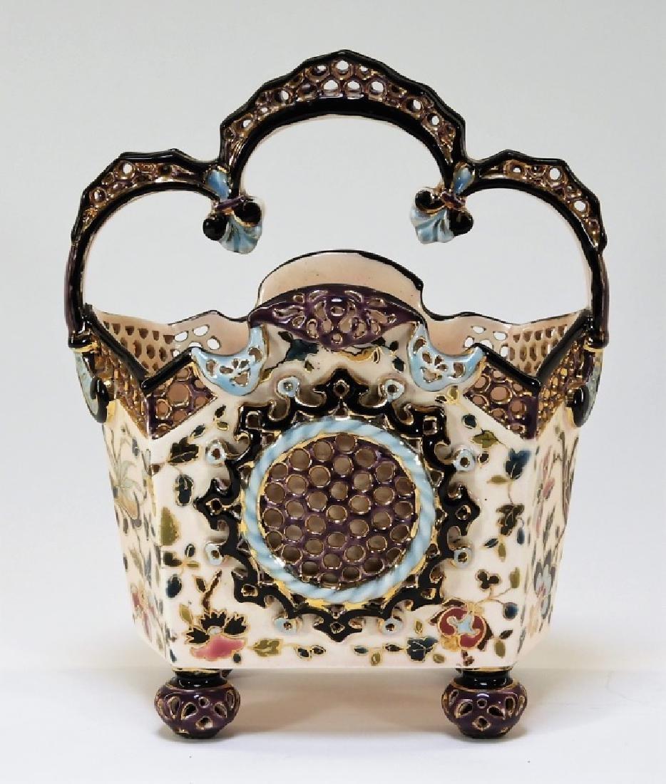 19C. Hungarian Fischer J. Budapest Ceramic Basket - 2