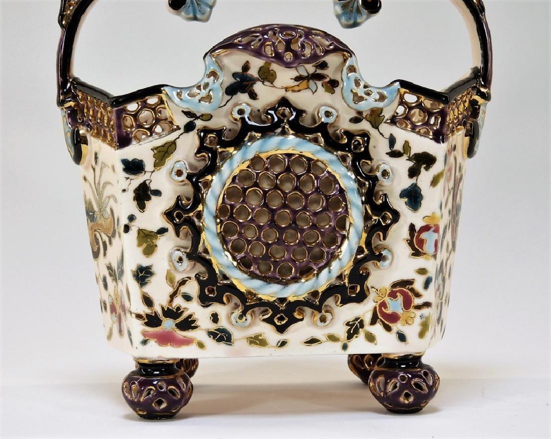 19C. Hungarian Fischer J. Budapest Ceramic Basket - 6