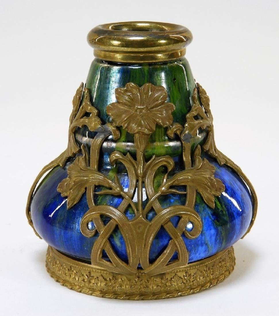Camille Faure Art Nouveau Enameled Copper Vase