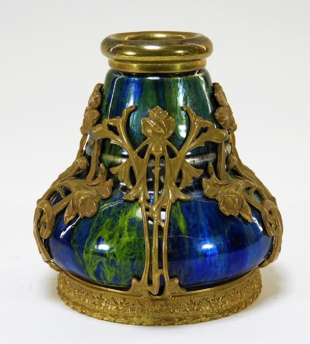 Camille Faure Art Nouveau Enameled Copper Vase - 2