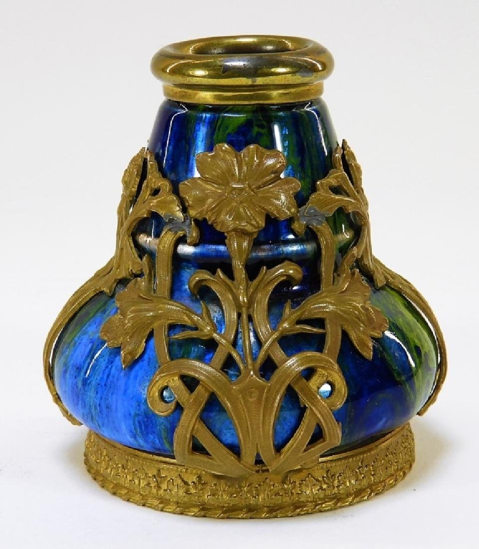 Camille Faure Art Nouveau Enameled Copper Vase - 3