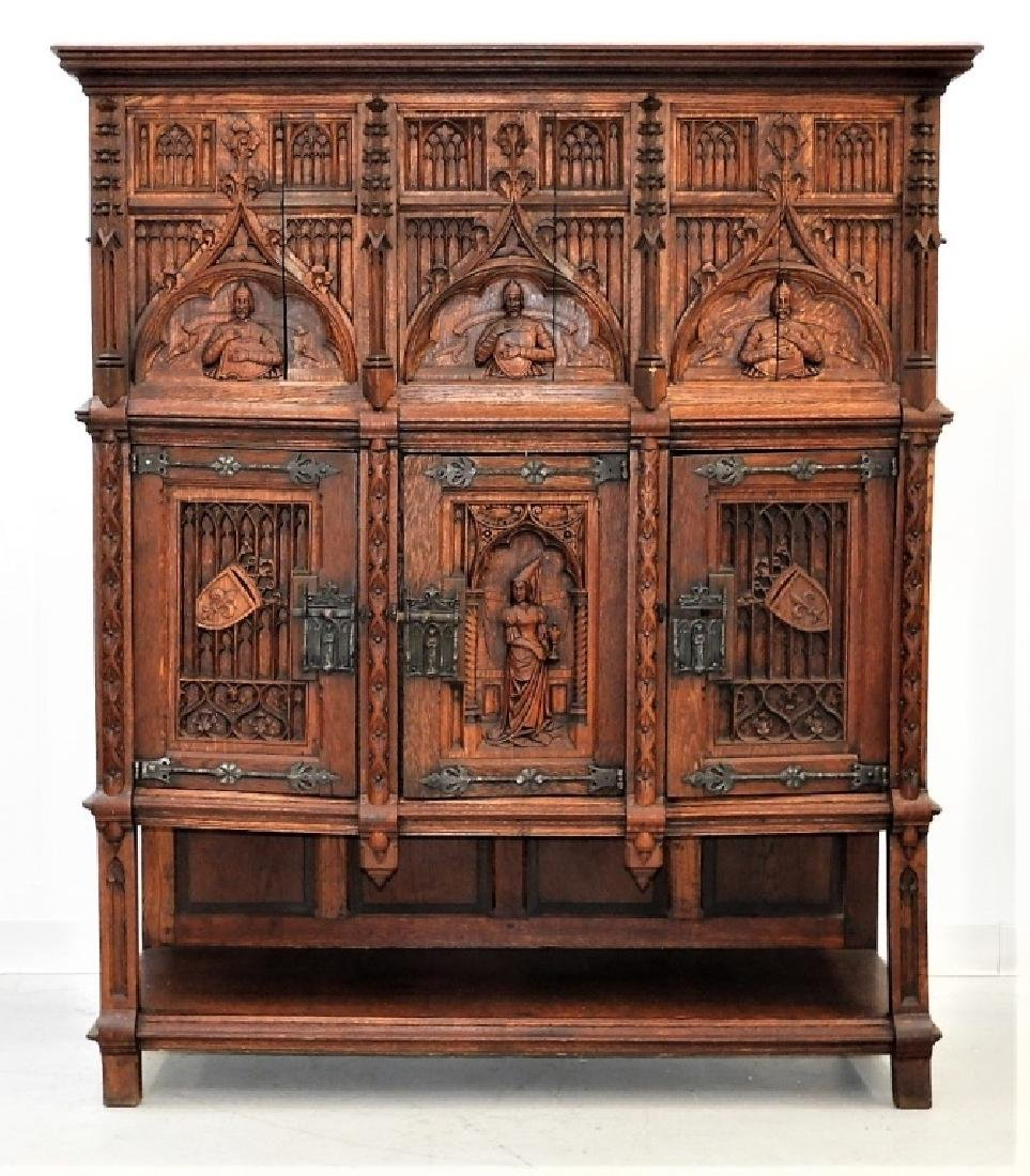 Continental Oak Renaissance Revival Court Cupboard