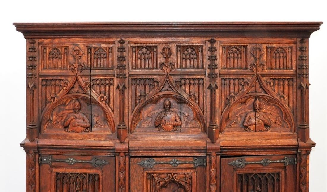 Continental Oak Renaissance Revival Court Cupboard - 2