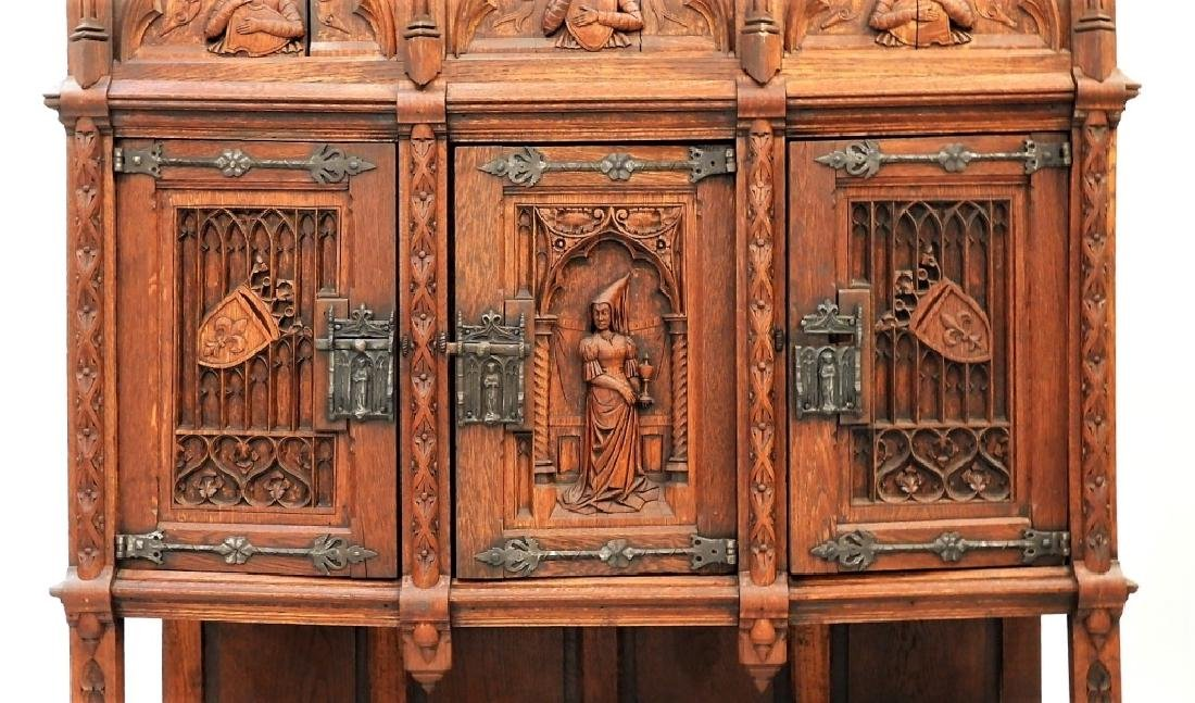 Continental Oak Renaissance Revival Court Cupboard - 3