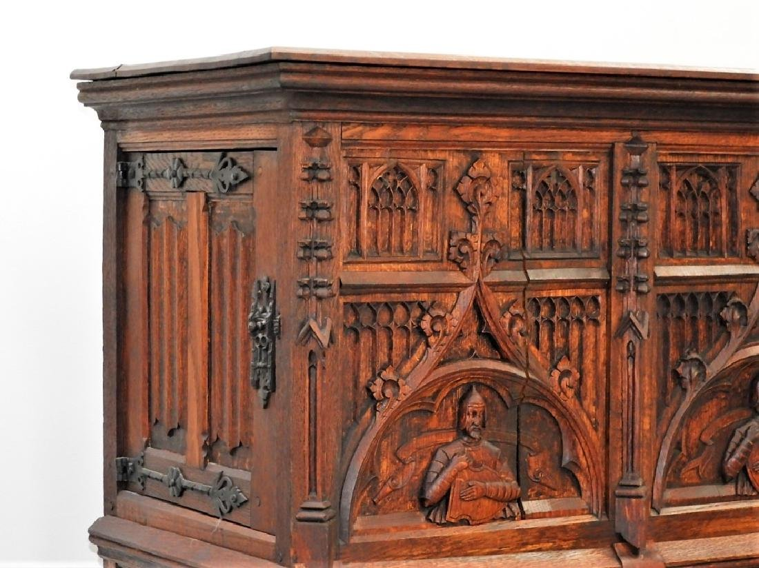 Continental Oak Renaissance Revival Court Cupboard - 4
