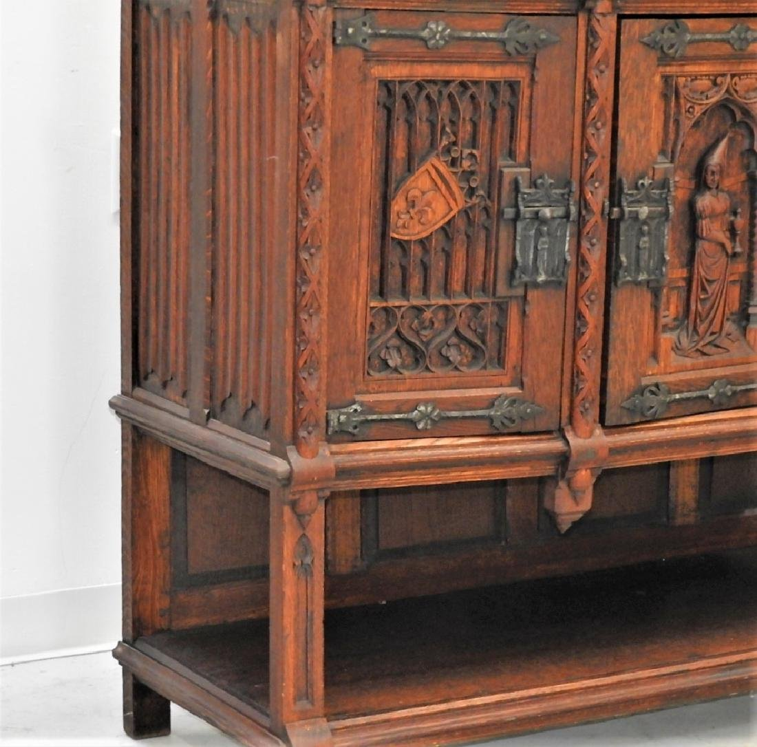 Continental Oak Renaissance Revival Court Cupboard - 5