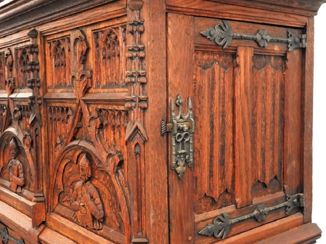 Continental Oak Renaissance Revival Court Cupboard - 7