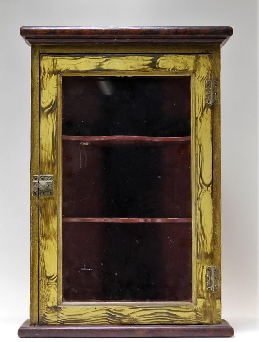 American Country Folk Grain Painted Corner Cabinet
