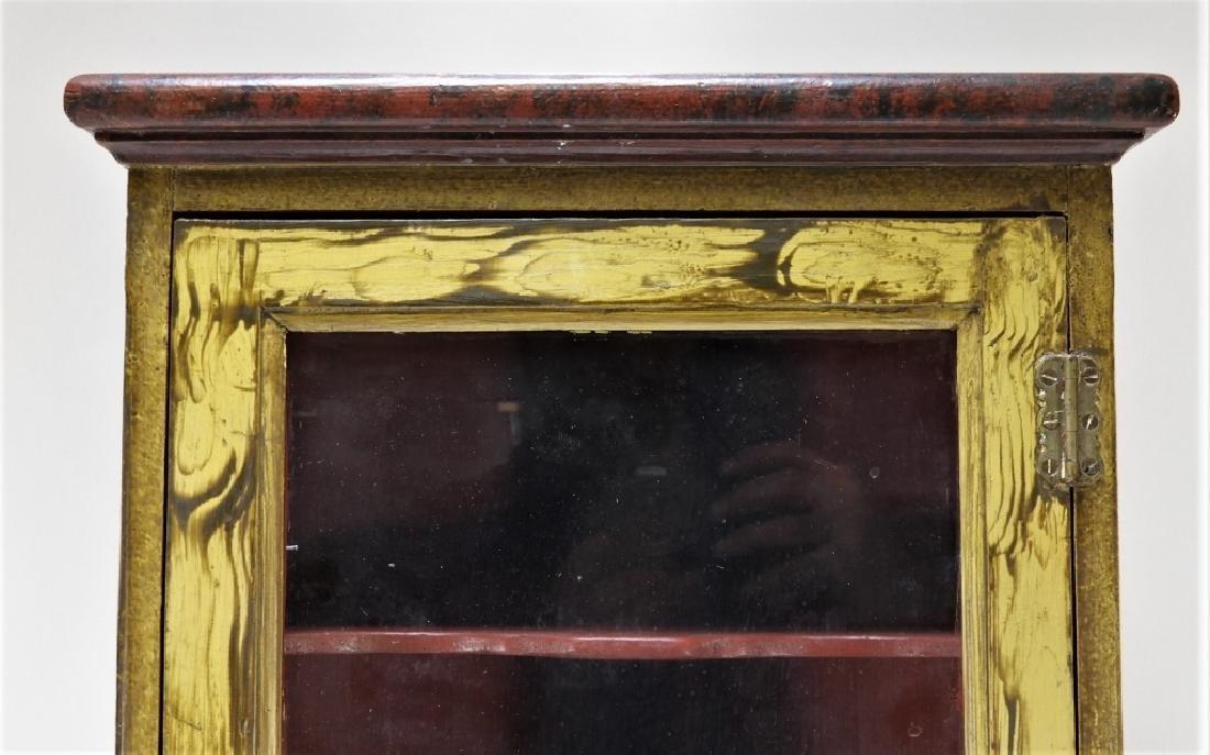 American Country Folk Grain Painted Corner Cabinet - 2