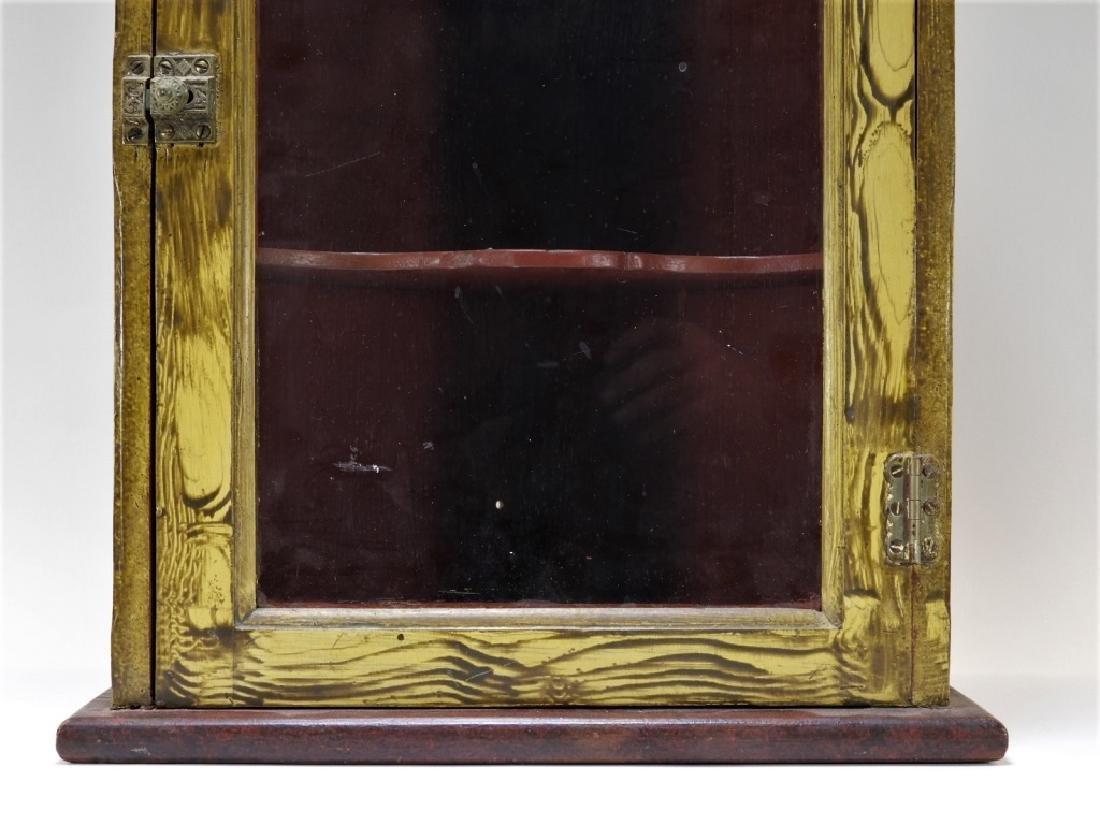 American Country Folk Grain Painted Corner Cabinet - 3