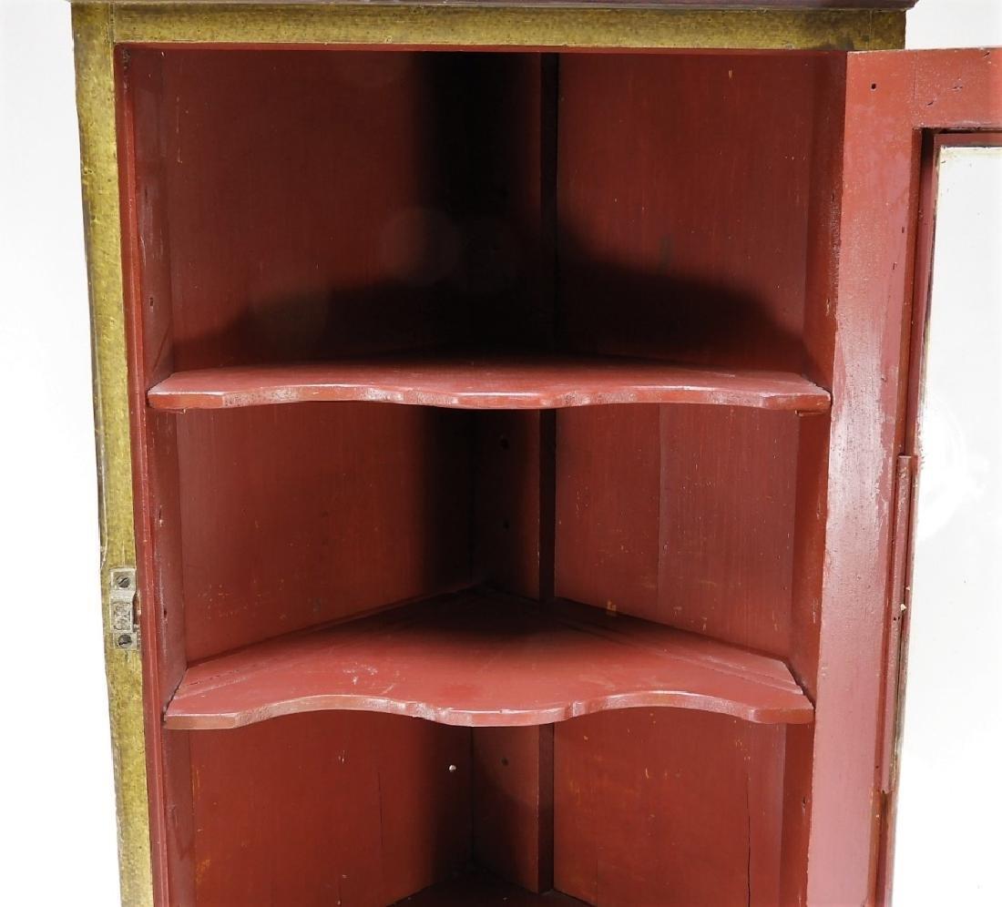 American Country Folk Grain Painted Corner Cabinet - 9