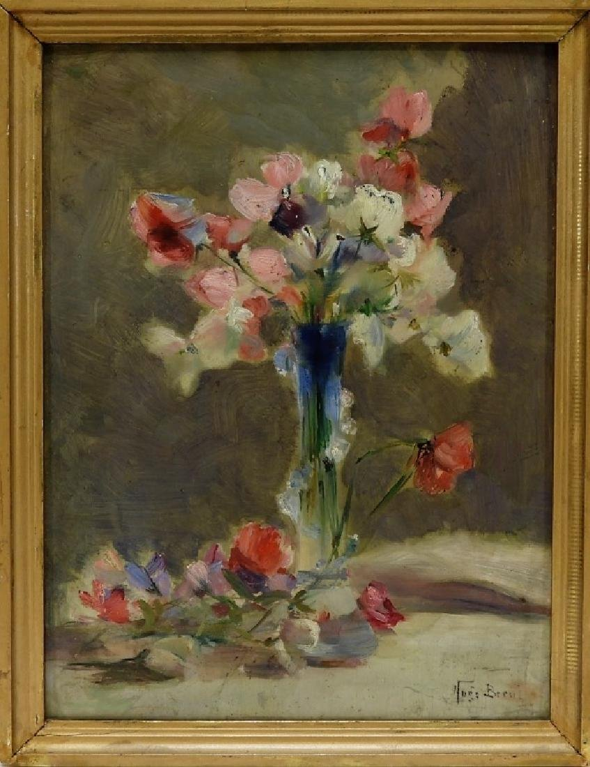 Hugo Breul Impressionist O/B Painting of Roses