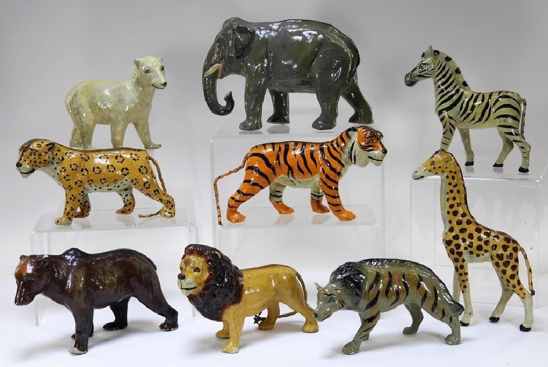 9 Early German Papier Mache African Safari Animals