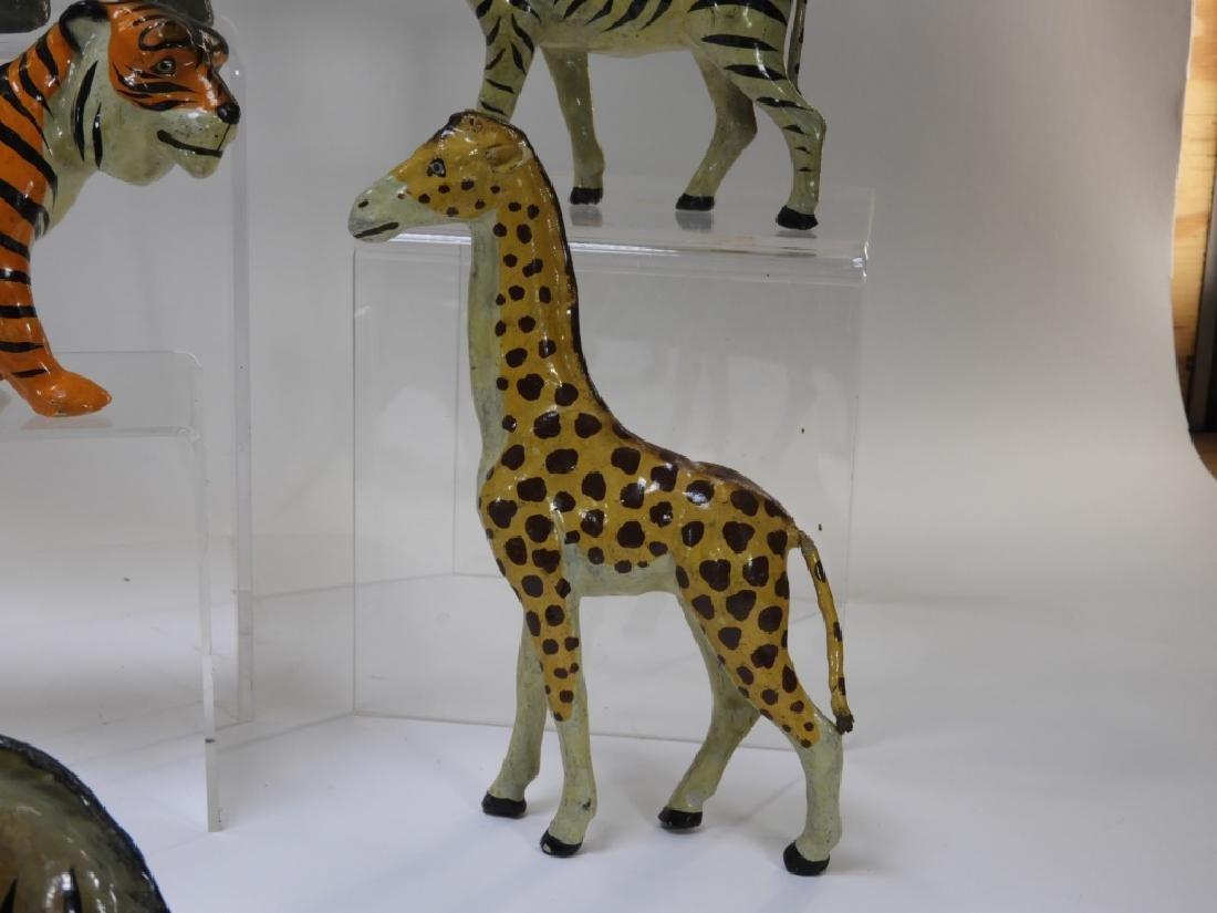 9 Early German Papier Mache African Safari Animals - 9