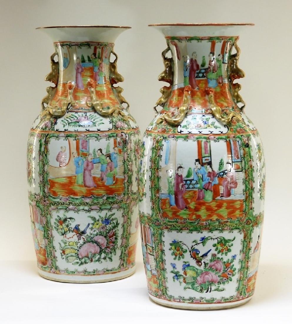 PR 19C. Chinese Rose Medallion Porcelain Vases