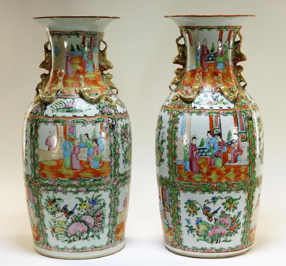 PR 19C. Chinese Rose Medallion Porcelain Vases - 2