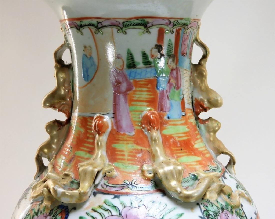 PR 19C. Chinese Rose Medallion Porcelain Vases - 3