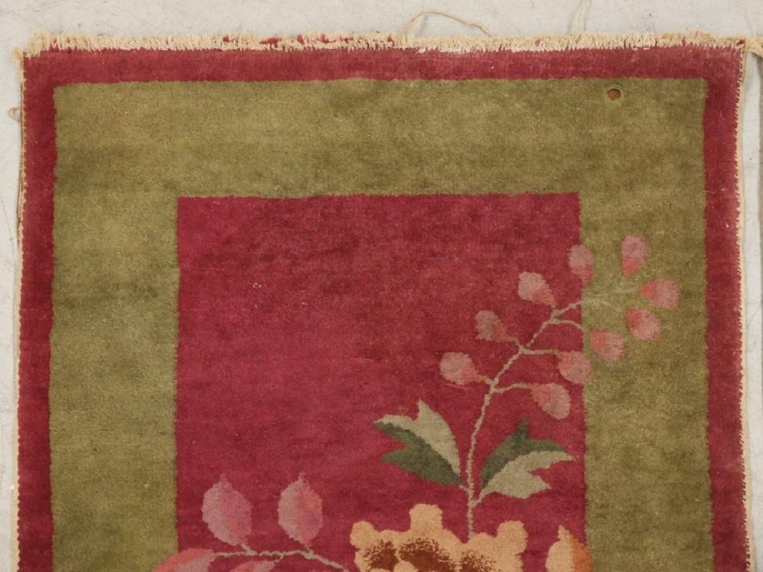 PR Chinese Art Deco Floral Wool Carpet Rug - 2