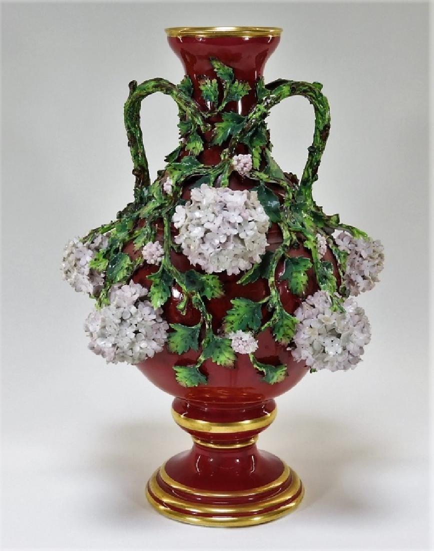 19C German Dresden Meissen Porcelain Snowball Vase