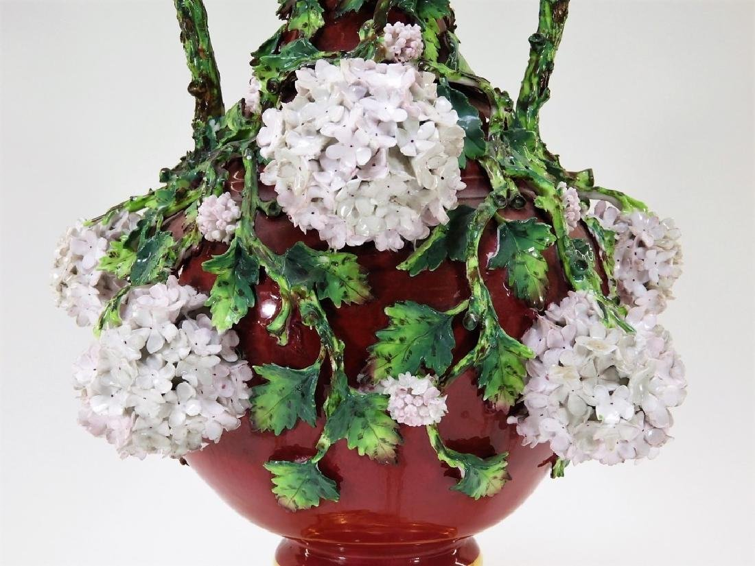 19C German Dresden Meissen Porcelain Snowball Vase - 2