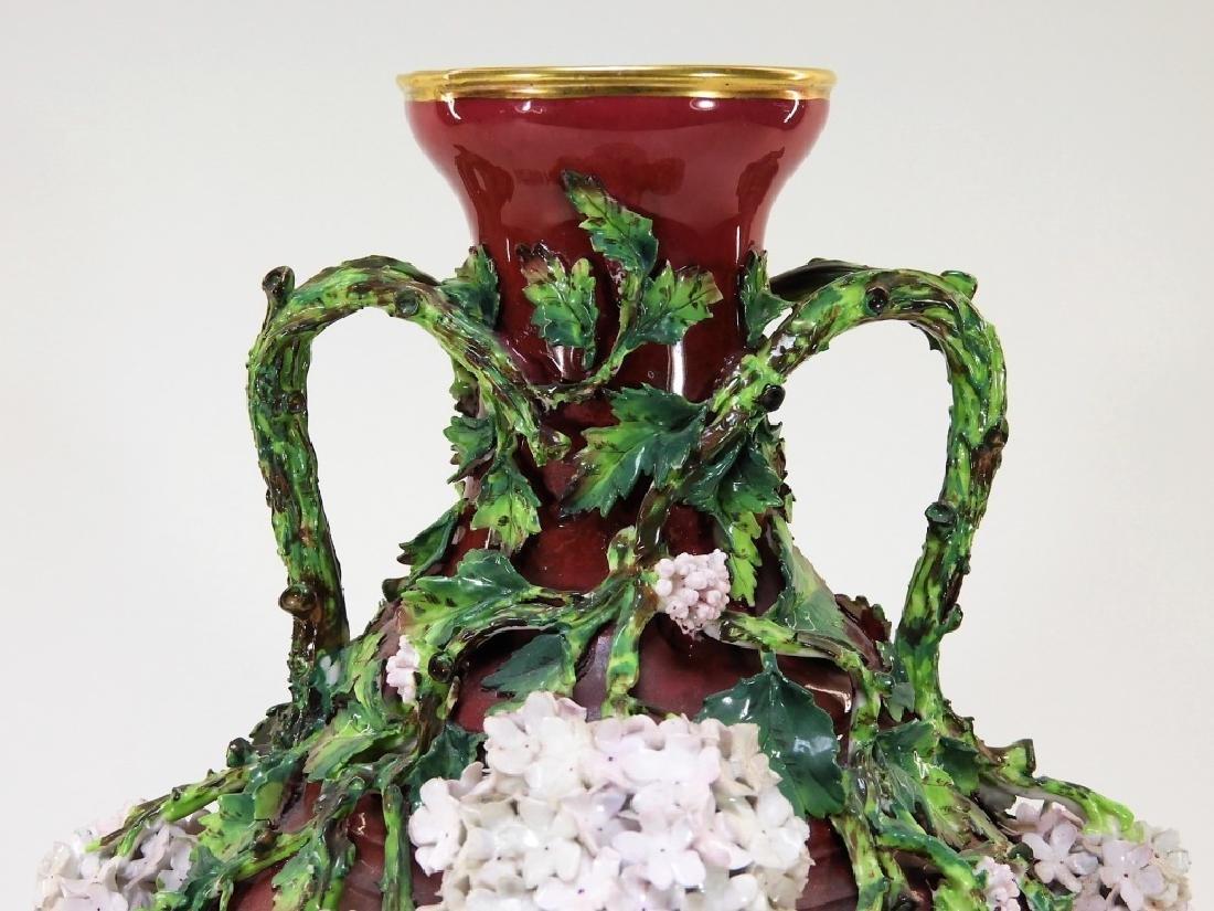 19C German Dresden Meissen Porcelain Snowball Vase - 3