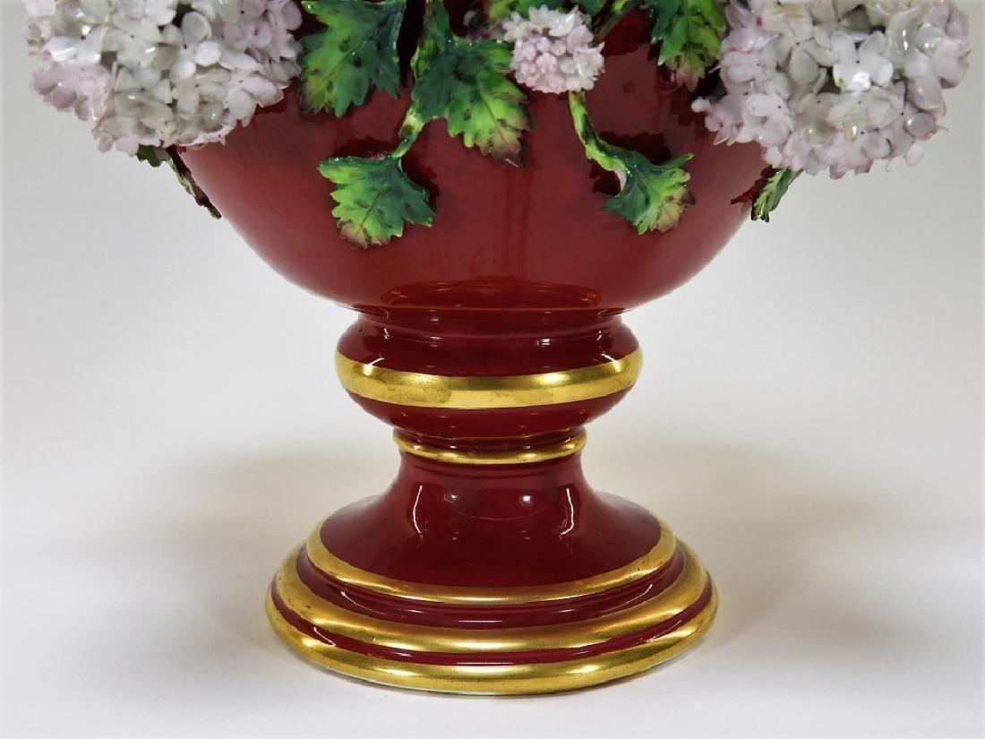 19C German Dresden Meissen Porcelain Snowball Vase - 4