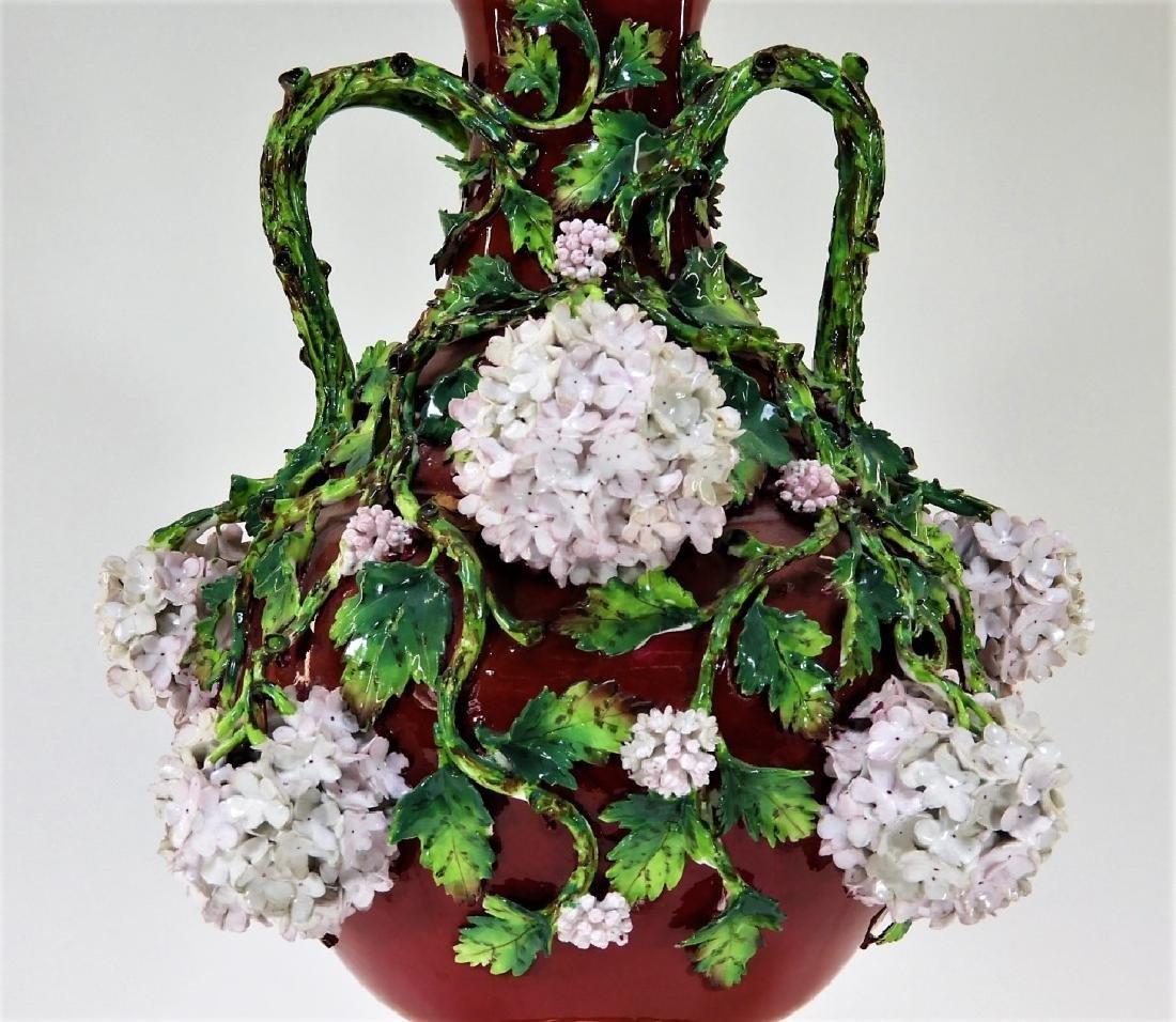 19C German Dresden Meissen Porcelain Snowball Vase - 6