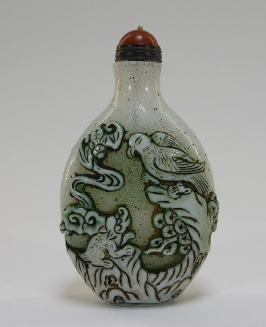 19C. Chinese Snowflake Peking Glass Snuff Bottle