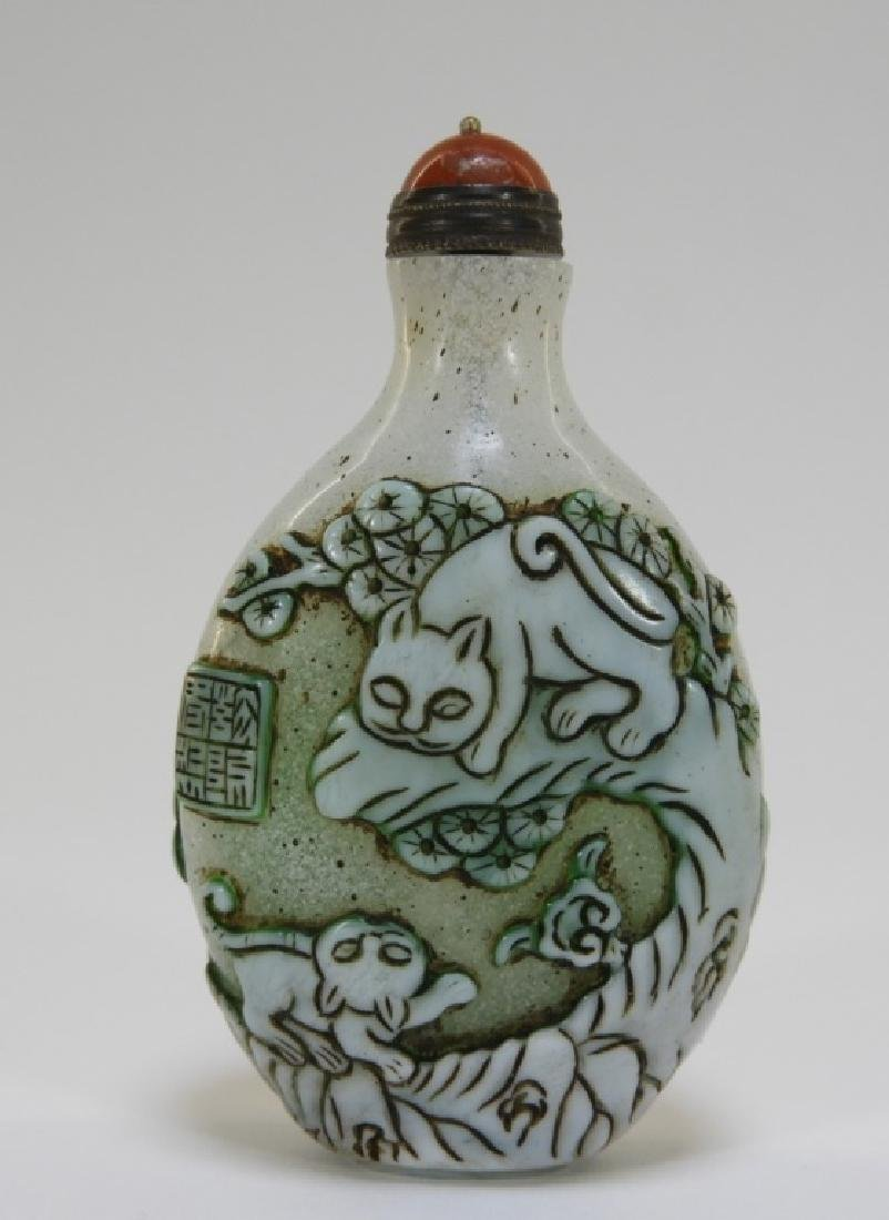 19C. Chinese Snowflake Peking Glass Snuff Bottle - 3