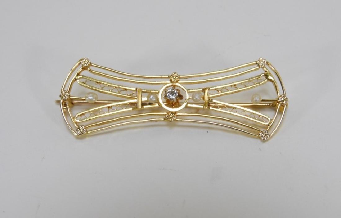 American Art Nouveau Gold Diamond Pearl Brooch