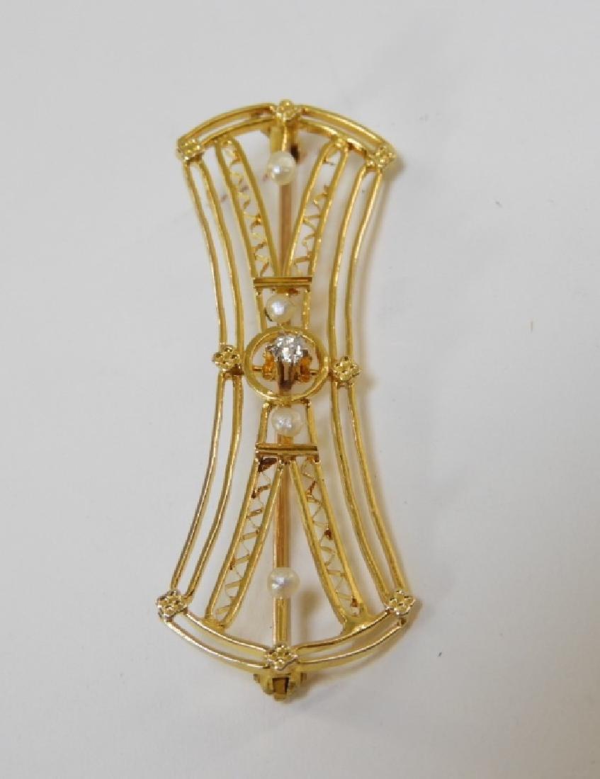 American Art Nouveau Gold Diamond Pearl Brooch - 3