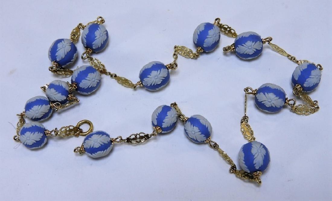English Wedgwood Jasperware 14K Gold Necklace
