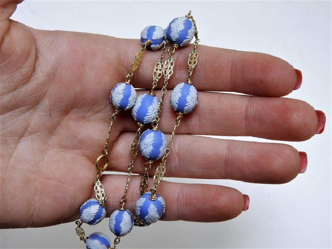 English Wedgwood Jasperware 14K Gold Necklace - 2