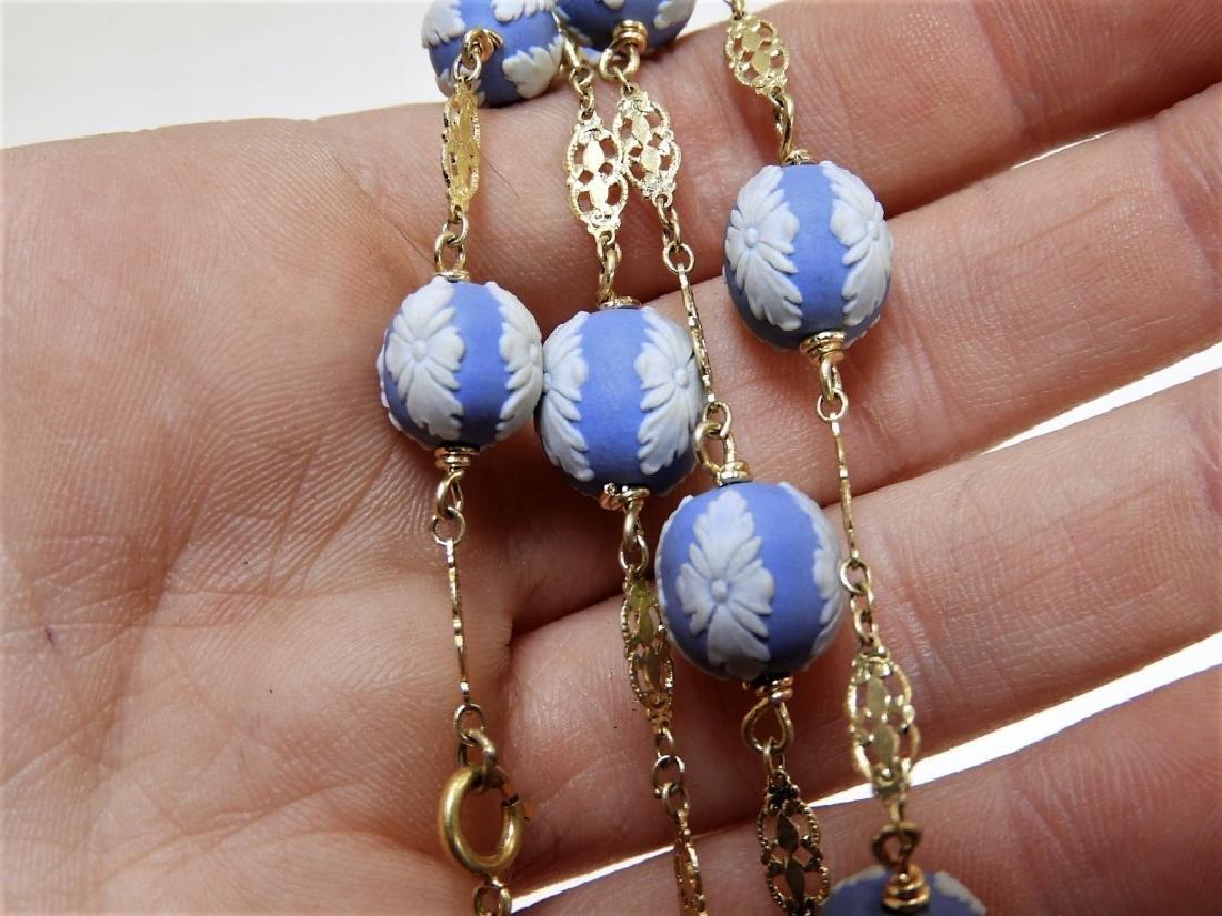 English Wedgwood Jasperware 14K Gold Necklace - 3