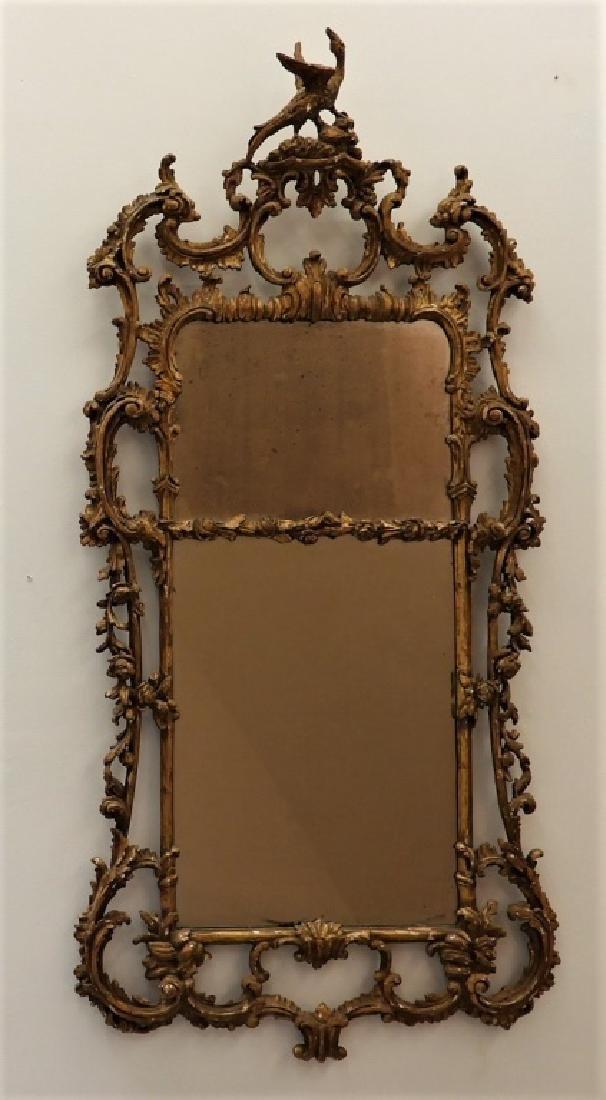 FINE 18C American Chippendale Chinoiserie Mirror