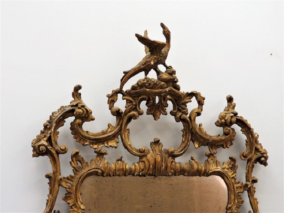 FINE 18C American Chippendale Chinoiserie Mirror - 2