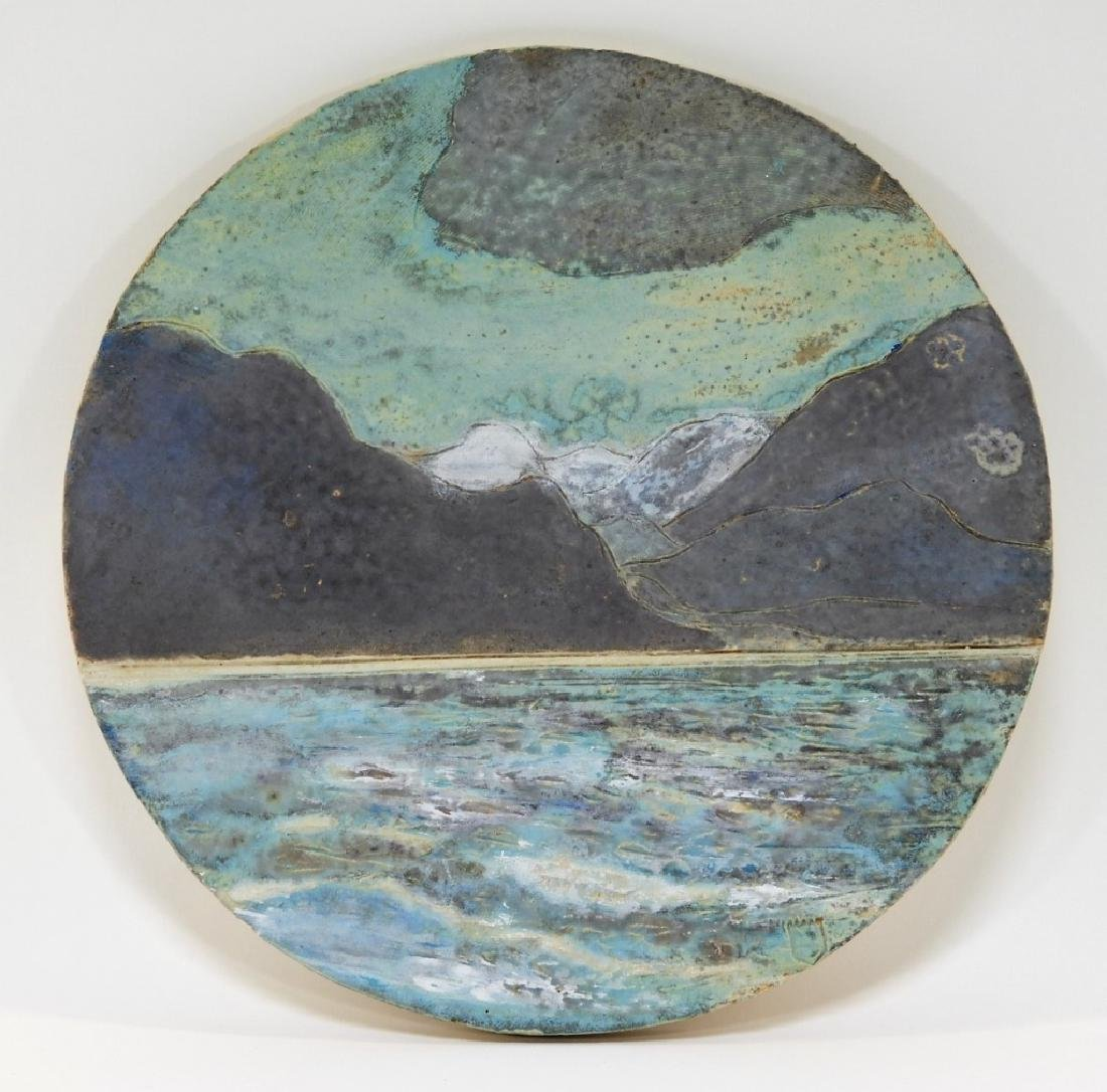 Unusual MCM Incised Art Pottery Landscape Tile
